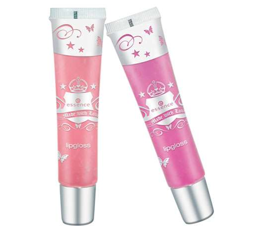 essence made with love lipgloss, links: #01, rechts: #02, Quelle: cosnova GmbH