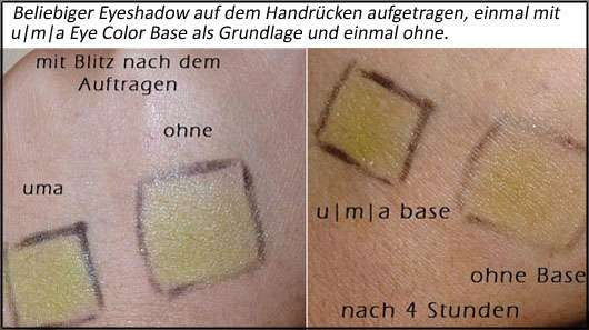 Test bzgl. Haltbarkeit der u|m|a Eye Color Base