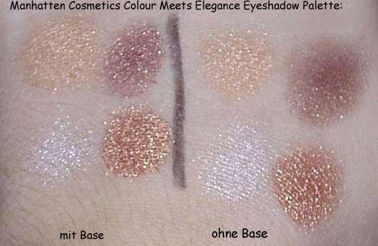 Manhatten Cosmetics Colour Meets Elegance Eyeshadow Palette, Farbe: Golden Effects (20) - auf dem Handrücken aufgetragen