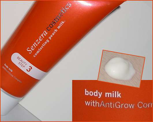"Senzera Cosmetics ""comforting peach milk"""