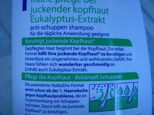 test shampoo head shoulders anti schuppen shampoo mit eukalyptus extrakt gegen juckende. Black Bedroom Furniture Sets. Home Design Ideas