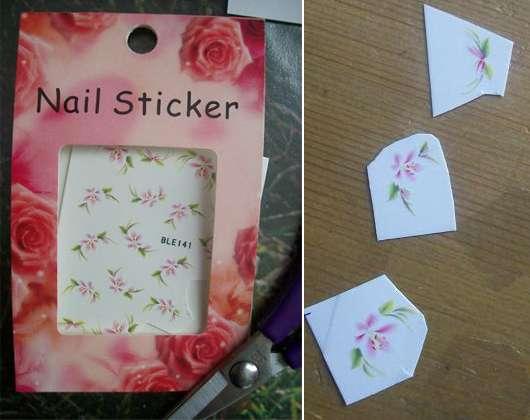 Profi Nail Products One Stroke Nail Sticker (rosa Blumenmotive)
