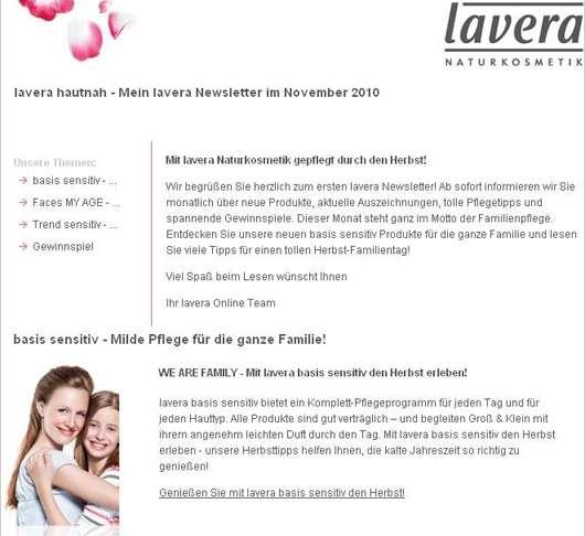 """""""lavera hautnah""""-Newsletter"""