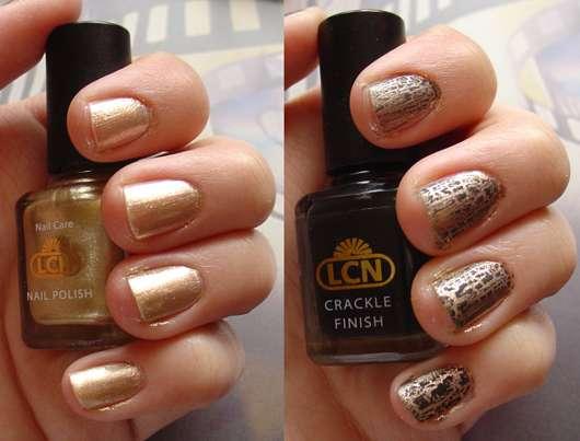 LCN Nail Polish (Farbe: Gold) + LCN Crackle Finish (Farbe: Schwarz)