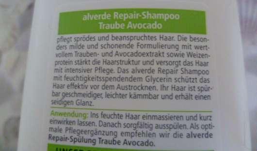 test shampoo alverde repair shampoo traube avocado. Black Bedroom Furniture Sets. Home Design Ideas