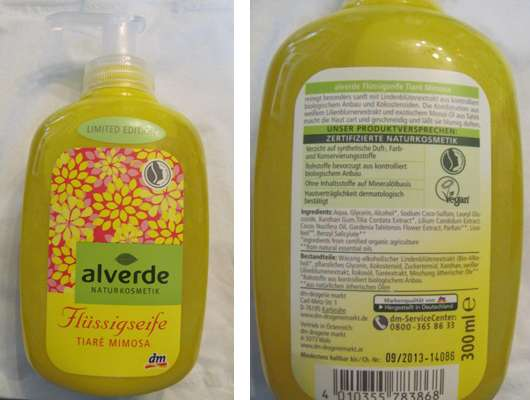 alverde Flüssigseife Tiaré Mimosa