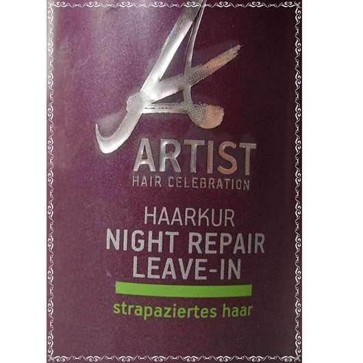 test leave in produkt artist hair celebration haarkur night repair leave in testbericht. Black Bedroom Furniture Sets. Home Design Ideas