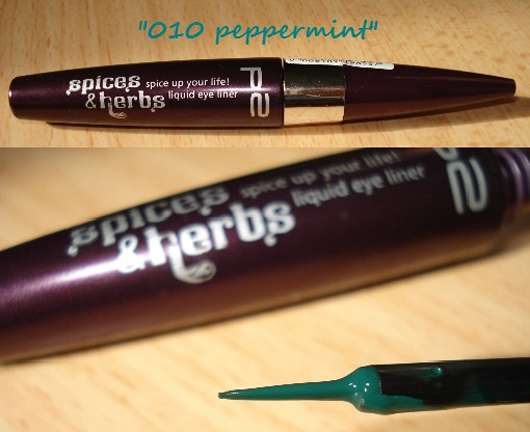 p2 spices & herbs spice up your life! liquid eye liner, Farbe: 010 peppermint (LE)