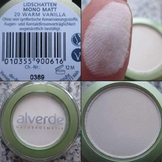 alverde Lidschatten Mono Matt, Farbe: 20 Warm Vanilla