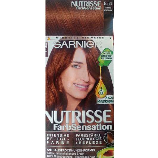Garnier Nutrisse FarbSensation Intensive Pflegefarbe, Farbe: 5.54 Warmes Honigbraun