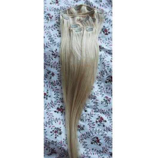 Haarpracht-Clip 120g Clip in Extensions Echthaar Haarverlängerung 66cm, Farbe: 613 Lichtblond