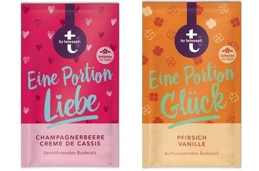 """t: by tetesept Badesalze """"Eine Portion Liebe"""" und """"Eine Portion Glück"""""""