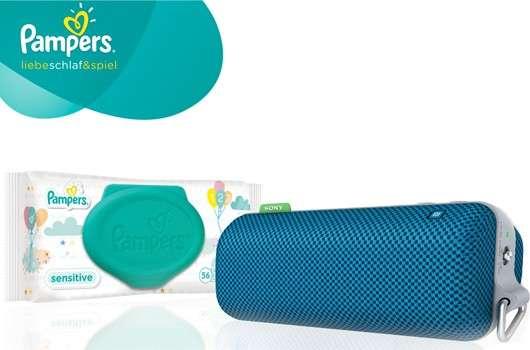 Gewinne Pampers Sensitive Feuchttücher + Sony Bluetooth Lautsprecher