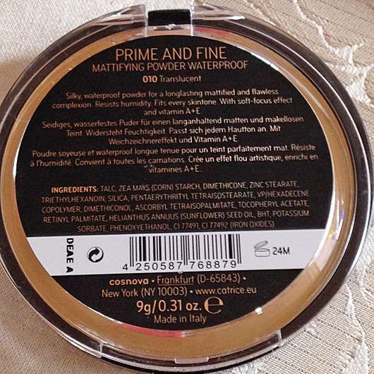 Catrice Prime And Fine Mattifying Powder Waterproof, Farbe: 010 Transluscent