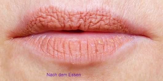 just cosmetics 8h velour matte-lip cream Farbe 060 drop it haftfestigkeit nach dem Essen