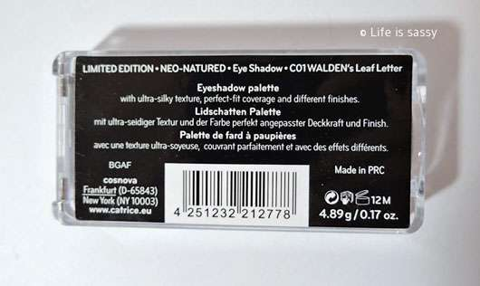 Catrice Neo-Natured Eye Shadow, Farbe: C01 WALDEN's Leaf Letter (LE)-Rückseite