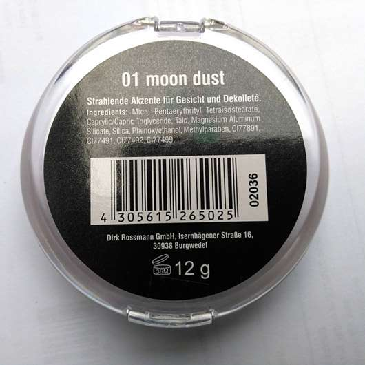 Rival de Loop Young Baked Highlighter, Farbe: 01 Moon Dust - Rückseite