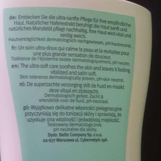 Rückseite der fenjal Sensitive Body Lotion