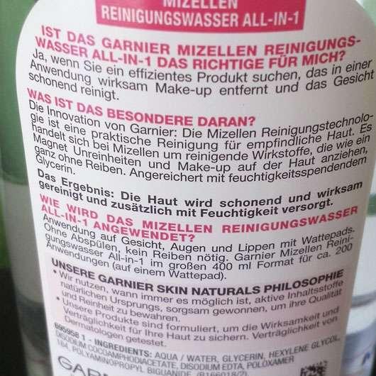 Garnier Skin Naturals Mizellen Reinigungswasser All-in-1 (trockene & empfindliche Haut) - Rückseite