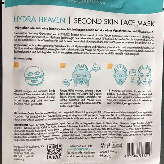 KONIVÉO Second Skin Face Mask HYDRA HEAVEN - Rückseite