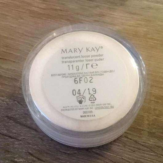 Mary Kay Translucent Loose Powder - Dose Rückseite