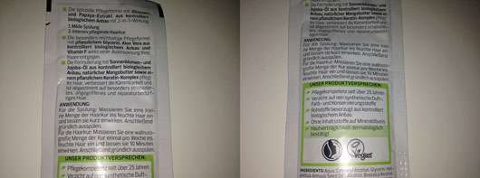 alverde 2in1 Express Haarkur Bio-Zitrone und Bio-Papaya - Sachet Rückseite