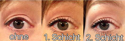 Maybelline New York Lash Sensational Voller-Wimpern-Fächer Mascara Waterproof, Farbe: Very Black - Collage Augen ohne und mit Produkt