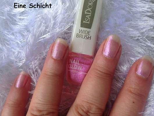 IsaDora Nail Glow, Farbe: 844 Pink Glow (LE) - eine Schicht auf den Nägeln