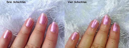 IsaDora Nail Glow, Farbe: 844 Pink Glow (LE) - drei und vier Schichten auf den Nägeln