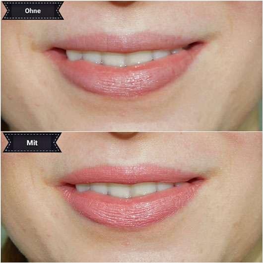 L.O.V LIPaffair Color & Care Lipstick, Farbe: 521 Verena's Rose - auf den Lippen mit und ohne Produkt