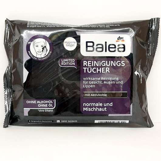 Balea Reinigungstücher mit Aktivkohle (LE) - Verpackung