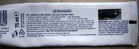 DONTODENT Black Shine Zahncreme - Tube - Rückseite