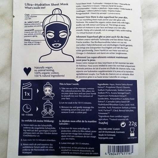 Hey Organic The Ultra Hydrator Tuchmaske - Sachet Rückseite