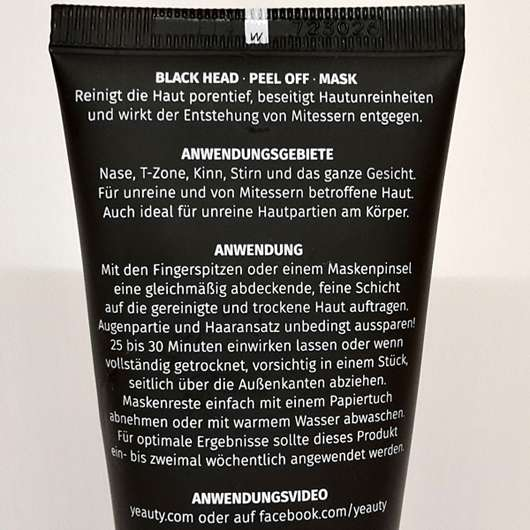 YEAUTY Black Head Peel Off Mask - Standtube Rückseite