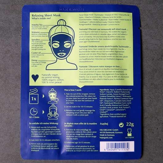 Hej Organic The Relaxer Tuchmaske - Sachet Rückseite