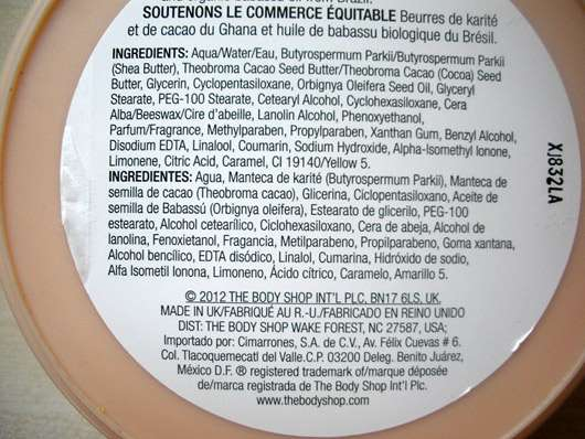 The Body Shop Shea Body Butter - Dose Rückseite