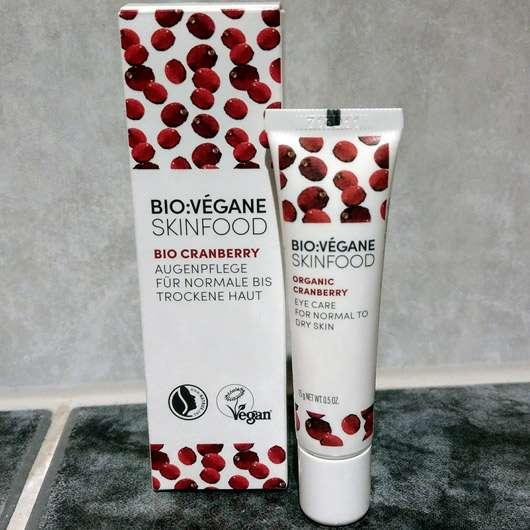 BIO:VÉGANE Bio Cranberry Augenpflege - Verpackung und Tube