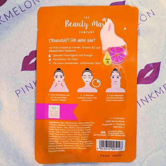 The Beauty Mask Company Strahlkraft Tuchmaske (für müde Haut) - Sachet Rückseite