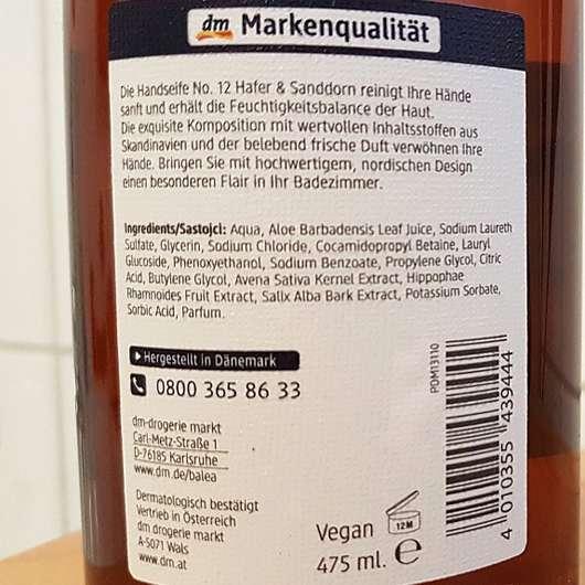 Balea Handseife No. 12 Hafer & Sanddorn - Flasche Rückseite