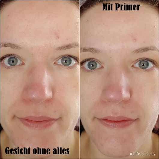 essence you better work! gym-proof primer - Gesicht ohne und mit Primer