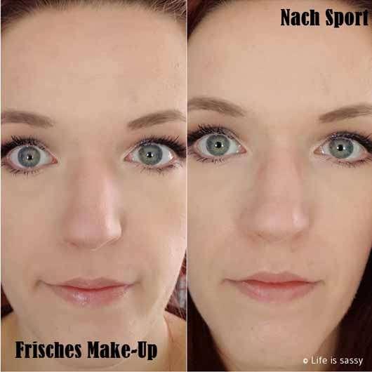 essence you better work! gym-proof primer - Gesicht mit frischem Make-Up und nach dem Sport