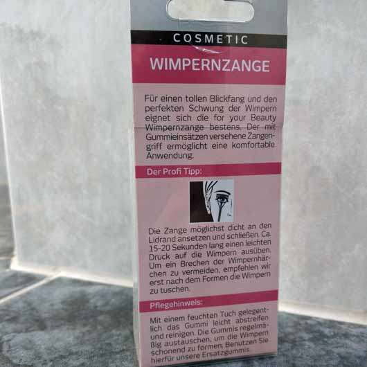 for your Beauty Wimpernzange - Verpackung Rückseite