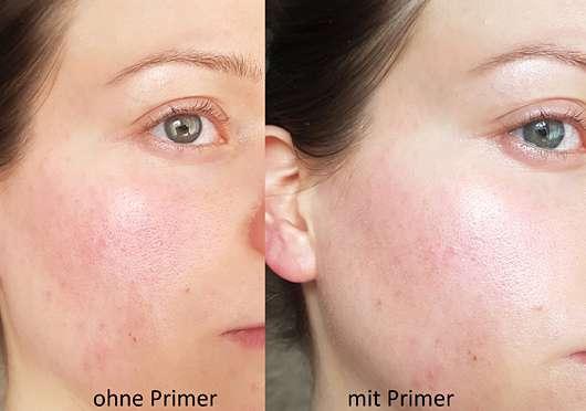 L.O.V PERFECTitude Aura Glow Primer - Gesicht ohne und mit Produkt