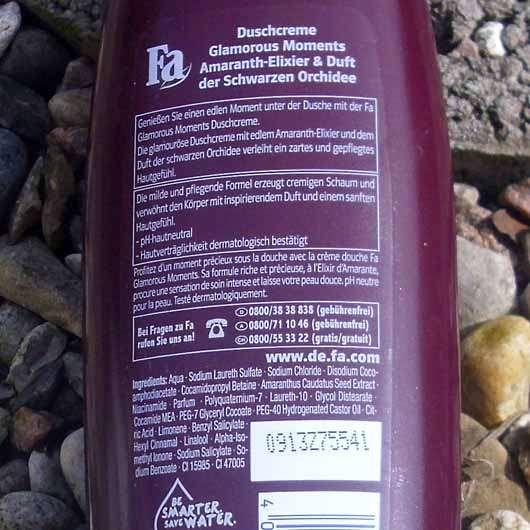 Fa Glamorous Moments Amaranth-Elixier & Duft der Schwarzen Orchidee Duschcreme - Flasche Rückseite