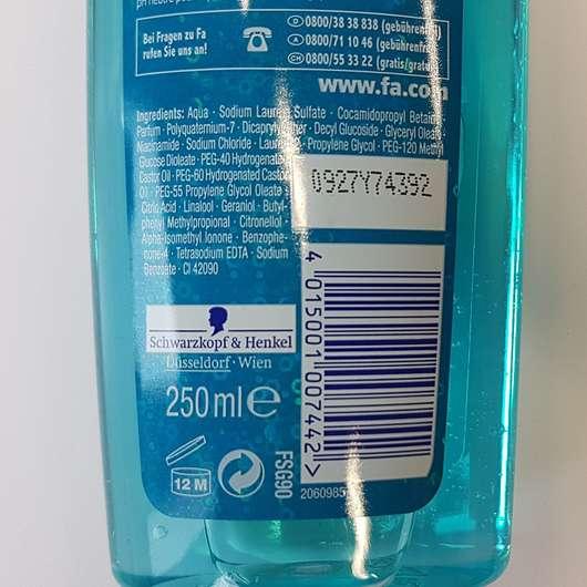 Fa Magic Oil Duft des blauen Lotus Duschgel - Flasche Rückseite