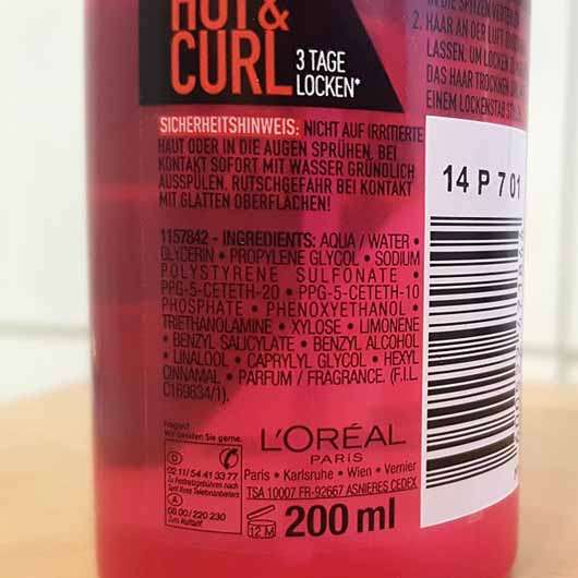 L'ORÉAL PARiS Studio Line Hot & Curl Thermo-Locken-Spray - Flasche Rückseite