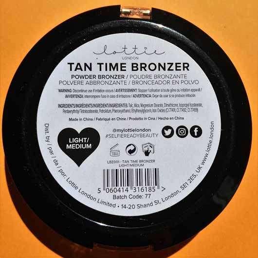 Lottie London Tan Time Bronzer, Farbe: Light/Medium - Verpackung Rückseite