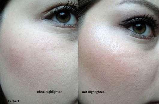 Pixi Glow-y Gossamer Duo Highlighter, Farbe: Delicate Dew - Haut ohne und mit Produkt