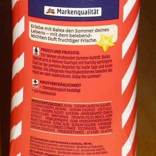 Balea Duschgel Sternfrucht Melone (LE) - Inhaltsstoffe