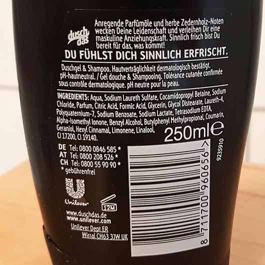 duschdas for Men Noire 2in1 Duschgel & Shampoo - Rückseite